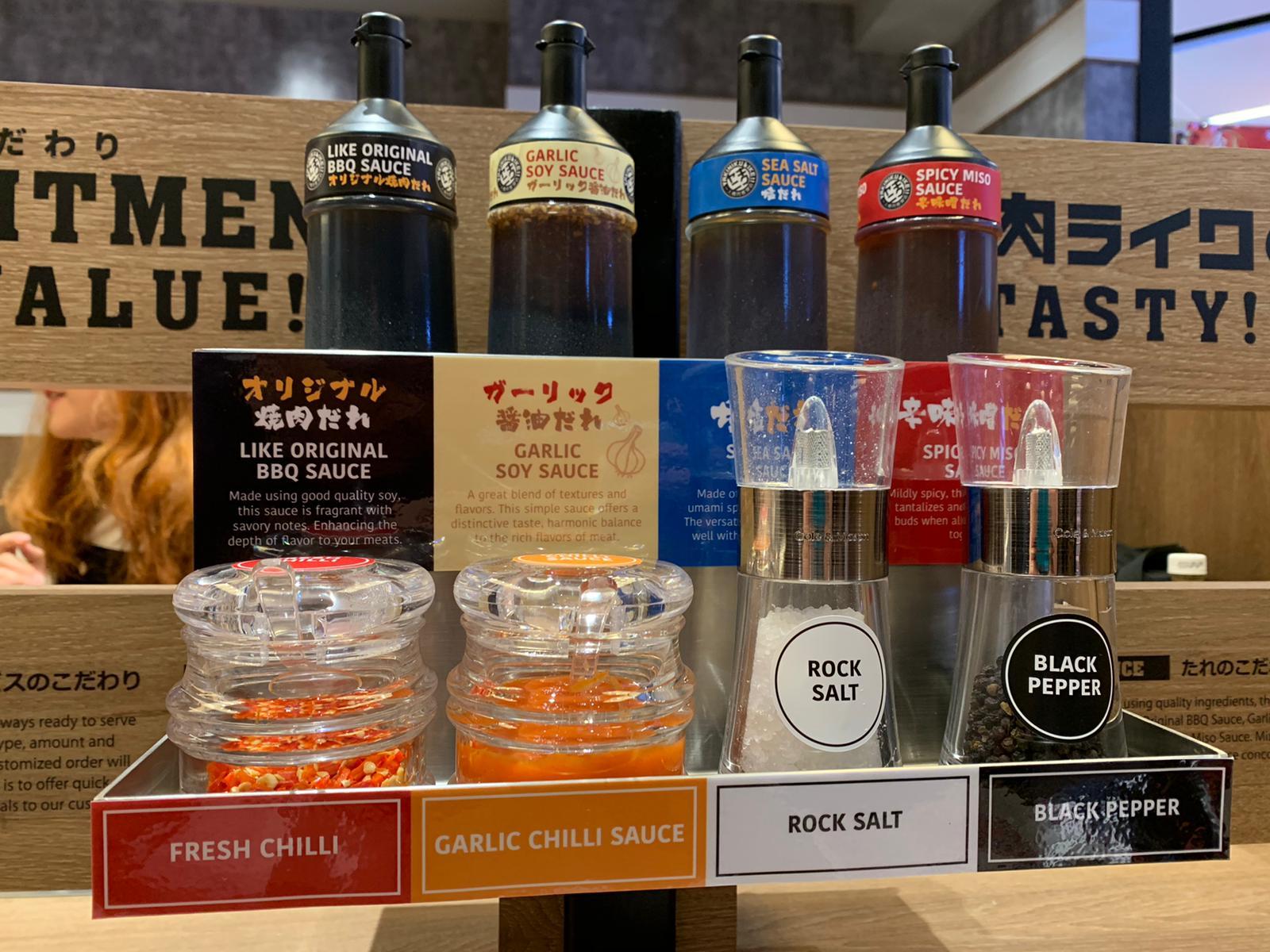 Sauce selection at Yakiniku Like