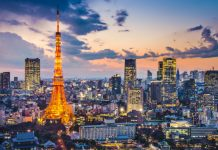 Tokyo Tower and Skyline At Dusk