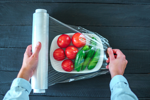 Cellophane wrapping fresh vegetables