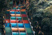 Malaysia Kuala Lumpur colourful steps