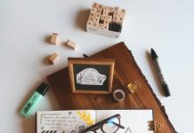 Notebook on a table - Setting new year's resolutions
