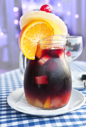 Red Sangria with Pineapple in Pitcher
