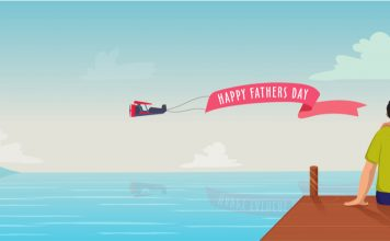 illustration, father's day, father, son, island