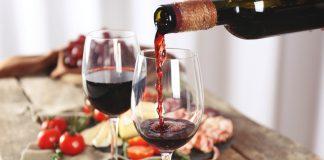 red wine, glass, bottle