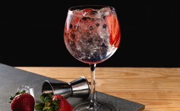 Gin,Tonic,Strawberry,With,Juniper,Stone,Background,In,Gray,Color.
